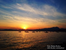 Sonnenuntergang am Gardasee bei Cisano.