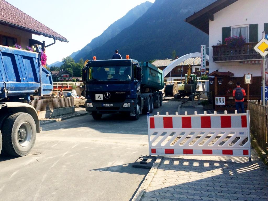 Baustelle in Farchant - Wo ist die Brücke?