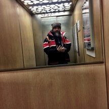 im Lift in Avoriaz