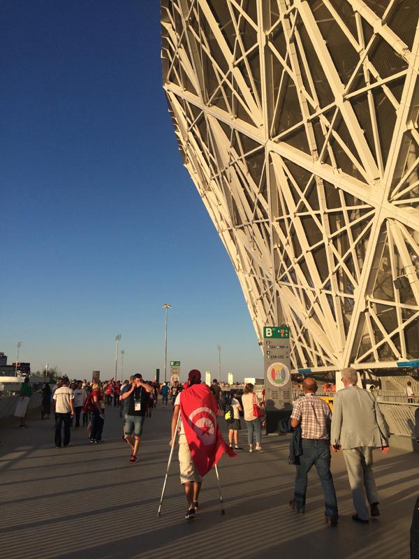 Vor dem Stadion in Wolgograd - gelungene Architektur