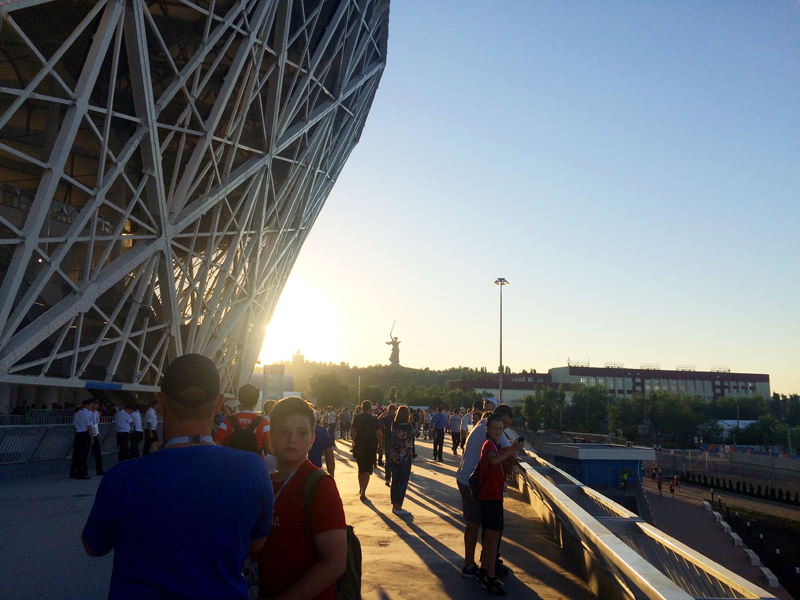 Wolgograd Stadion mit Blick zum Mamajew-Hügel