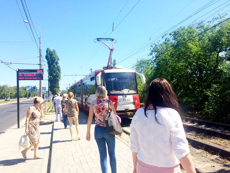 Unterwegs mit der Tram in Wolgograd Juni 2018