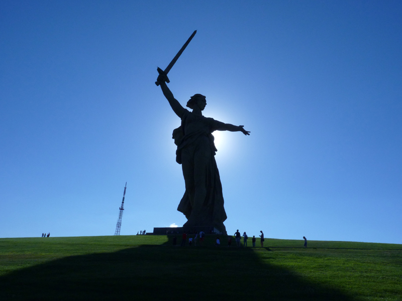 Die Mutter-Heimat-Statue auf dem Mamajew-Hügel von Wolgograd