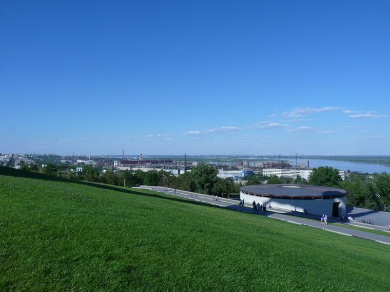 Blick vom Mamajew-Hügel zum Stahlwerk Roter Oktober